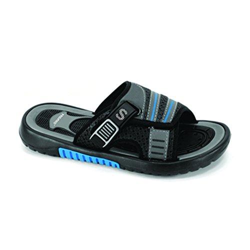 Sandalias Fresko Teen Boy Slide, Tn1116 Blk / Gris / Azul