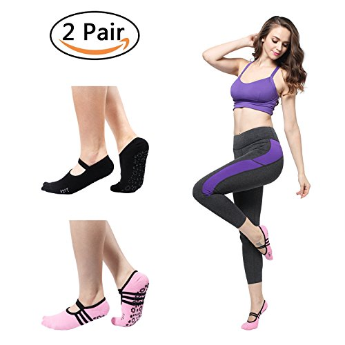 Yoga Pilates Socks, Non Slip Skid Low Cut Cotton Barre Dance Socks with Grips for Women & Men One Size 5-11 (2 Pairs)