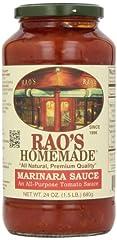 Rao's Homemade Marinara Sauce evokes nostalgic memories of family dinners. A blend of sweet, imported Italian tomatoes, Italian olive oil, sweet onions, fresh basil, fresh garlic, crushed black pepper, salt and fresh oregano.