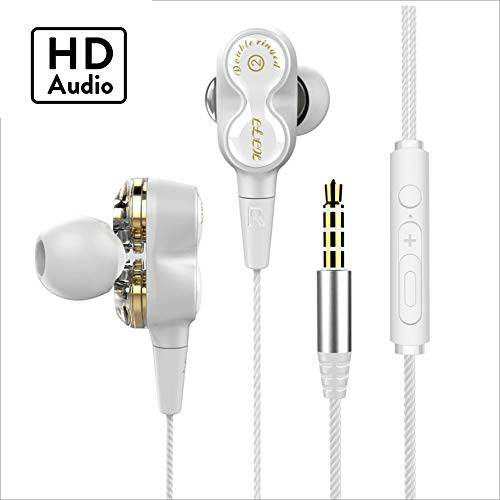 VitaVela 2019 New Universal Earphone/Ear Buds 3.5mm Stereo Headphones in-Ear Tangle Free Cable with Built-in Microphone Earbuds,for iPhone iPod iPad Samsung Android Mp3 Mp4 and More Smart Phone-White