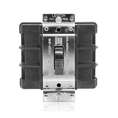 Leviton MS602-BW 60-Amp, 600-Volt, Toggle Double-Pole AC Motor Starting Switch, Industrial Grade, Non-Grounding, Back Wired, Black - Starting Switch Motor
