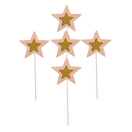 Glitter Star Cupcake Toppers Twinkle Cupcake Picks Star For Party Decorations Supplies, 25 Counts (Pink) for $<!--$8.99-->