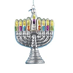 Kurt Adler 4-1/2-Inch Noble Gems Glass Menorah Ornament