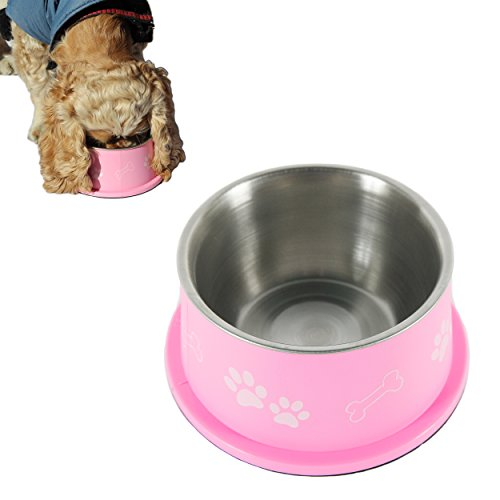 PETish SPANIEL BOWL for LONG EAR Dog - ERGONOMIC Personalized Custom Design BOWLS, NO Tip STAINLESS Dish (Medium ( 17oz - 6.3 x 5.3 x 3.0inch ), Candy Pink)