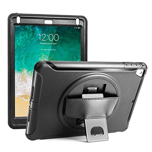 Herize iPad 5th/6th Generation Cases, iPad Air 2 / iPad Air/ Pro 9.7 Case With Hand Strap,Durable Rugged Protective Shockproof Hard Case W/ 360 Degree Rotatable Stand For Kids, iPad 9.7 2017/2018 Blk