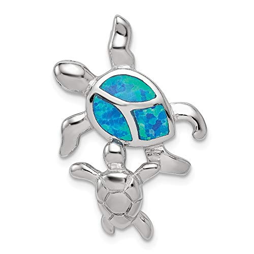 - 925 Sterling Silver Blue Inlay Created Opal Turtle Pendant Charm Necklace Sea Life Fine Jewelry Gifts For Women For Her