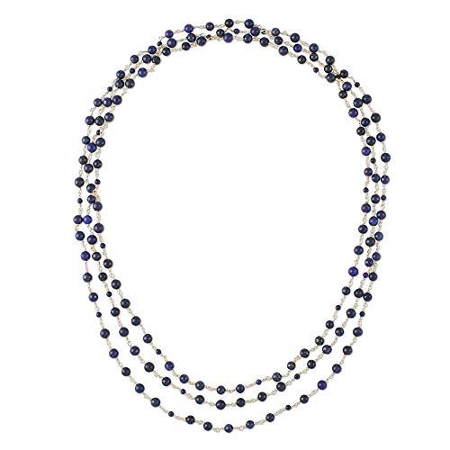 NOVICA Lapis Lazuli Brass Beaded Necklace, 73