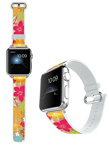 Hawaiian Floral Bands - Apple Watch Band 42mm Leather - Dseason Soft Leather Sport Style Replacement iWatch Strap for Apple Wrist Watch Series 1 Series 2 42mm Models Floral Hawaiian