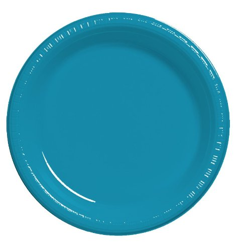 Creative Converting Touch of Color 20 Count Plastic Dinner Plates, Turquoise -