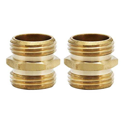 Brass Male Quick Connector - Twinkle Star 3/4 Inch Brass Garden Hose Adapter Double Male Quick Connector, 2 Pack