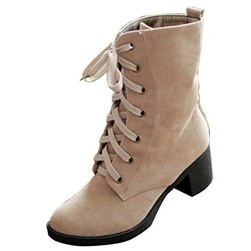 AIYOUMEI Damen Winter Blockabsatz Stiefeletten mit 6cm Absatz und Schnürung Bequem Schnürstiefeletten Beige