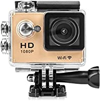 Mini WiFi Portable Action Sports Camera, 2.0 Inch LCD Screen 1080P HD 12Mp Video PC Camera 170° Wide Angle Lens Wireless Waterproof HDMI Output (Gold)