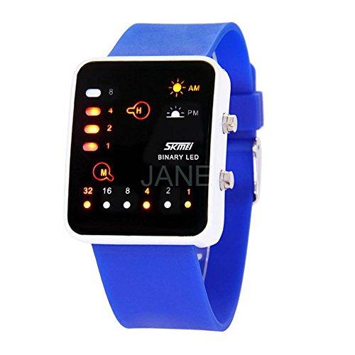 Gosasa Unisex Sense Binary Digital Led Watches Student Sports Wrist Watches 30M Waterproof  Blue