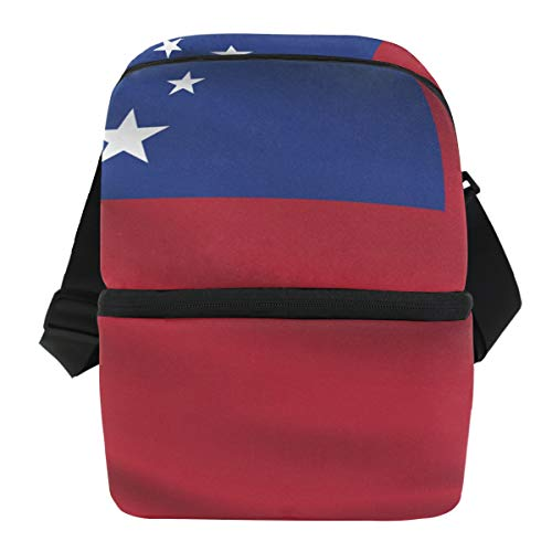 Pins Samoa Lapel (Samoa Flag Insulated Lunch Box Cooler Bag Reusable Tote Picnic Bags for Travel, Camping, Hiking and RVing)