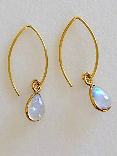 Moonstone Earrings, Baby Pear Moonstones, Petite Moonstones Drops, Natural Rainbow Moonstone, June Birthstone, Bridal, 24K Gold Vermeil.