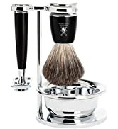 MÜHLE RYTMO 4-piece Pure Badger Double Edge Safety Razor (Closed Comb) Shaving Set For Men - Perf...