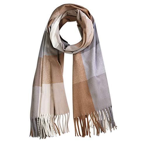 SOJOS Classic Plaid Tartan Cashmere Scarf for Women Men Soft Scarves SC316 with Grey and Yellow Plaid