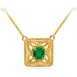 Carleen Genuine Emerald Pendant Necklace for Women 18K Gold Women Necklaces