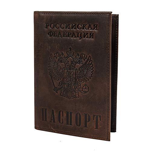 Cancer LLC - Vintage Men Women Genuine Leather Passport Cover Russian Emblem Logo Credit Card Holder ()
