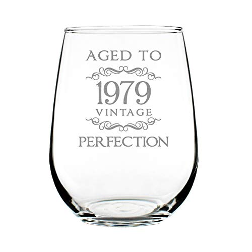 1979 40th Birthday Gifts Stemless Wine Glass for Women & Men | Cute Funny Wine Gift Idea | Unique Personalized Anniversary or Bday Glasses for Best Friend Turning 40 | Drinking Party Decoration