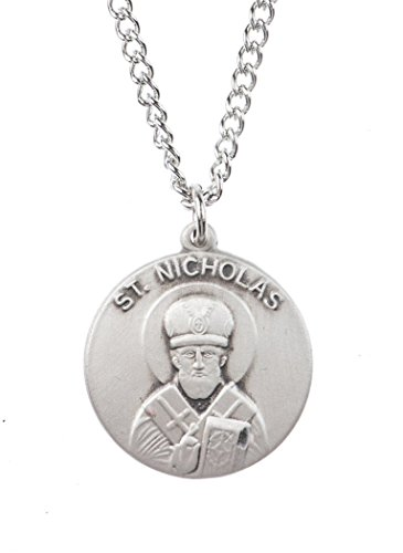 Patron and Protector Medals Sterling Silver Saint St Nicholas Dime Size Medal Pendant, 3/4 Inch
