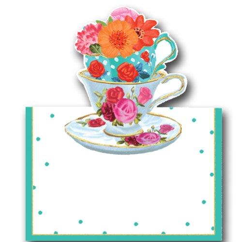 (Caspari Place Cards Tent Style Tea Cups 8pk 84906P)