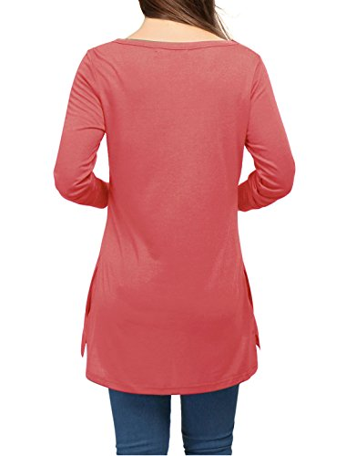 K col Top t c Poches V Femme w Tunique Longues Allegra Corail Manches Fendue wInCdIqY