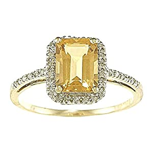 Instagems 10k Yellow Gold Emerald Cut Citrine and Diamond Halo Ring