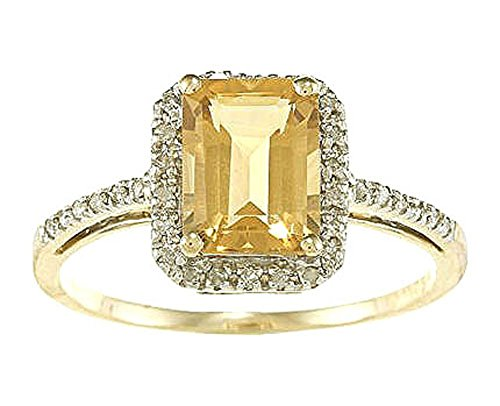 Instagems 10k Yellow Gold Emerald-Cut Citrine and Diamond Halo Ring