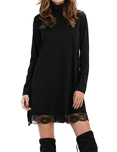 Leadingstar Women Scoop/Turtleneck Long Sleeve Irregular Lace Splice Shirt Dress (Size L, Turtle Neck),Black