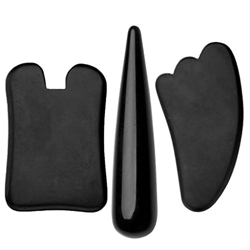 Top Plaza 3pcs Handmade Black Natural Lava Rock Basalt Stone Obsidian Gua Sha Scraping Massage Tool Gua Sha Board/Wand SPA Acupuncture Therapy Massage…