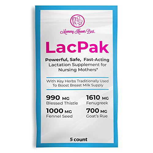 Lactation Power Pak Supplement for Breastfeeding Moms - Maximum Strength - Fenugreek, Fennel Seed, Goats Rue, and Blessed Thistle with DHA - Boost Your Increase in Breast Milk Supply - 5 Pack ...