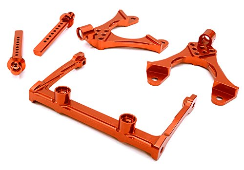 Chassis Shock (Integy RC Model Hop-ups OBM-BR233011RED CNC Machined Front Chassis Brace, Shock Tower & Body Post Kit for Axial SCX-10)