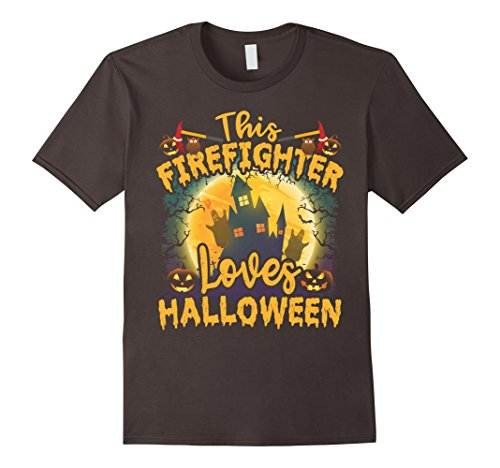 Mens Halloween T Shirt - This Firefighter Loves Halloween 2XL Asphalt