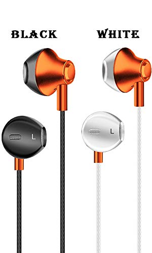 Novateur R88 in-Ear Earphones with Mic Headphones for All Smart Mobile Phones,Tablets, PUBG and PC (Orange/White)