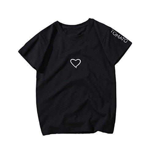 先見の明感じる方向MIOIM Tシャツ レディース ブラウス 半袖 ハート型 ゆったり カットソー 大きいサイズ トップス 春 夏 通勤 通学 普段着