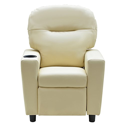 Costzon Contemporary Kids Recliner, PU Leather Lounge Furniture for Boys & Girls W/Cup Holder, Children Sofa Chair (Beige) by Costzon (Image #1)