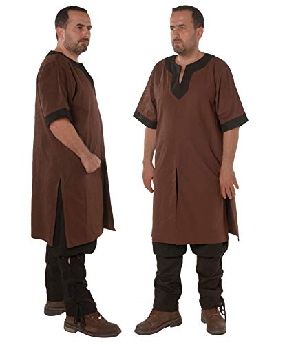 Loki Medieval Viking Cotton Half-Sleeve Tunic by Calvina Costumes - Made in Turkey -BRW/BLC M -