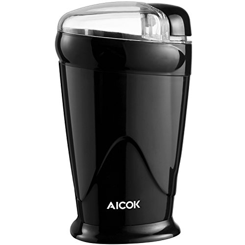 Aicok Electric Coffee Grinder and Spice Grinder, One-Touch Blade Grinder for Coffee Beans, Spices, Nuts, Grains, 150W Power 20 Seconds to Grind Coffee with Double Stainless Steel Blades, Black
