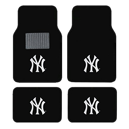 A Set of 4 Universal Fit Front and Rear Logo Plush Carpet Floor Mats MLB Yankees ()