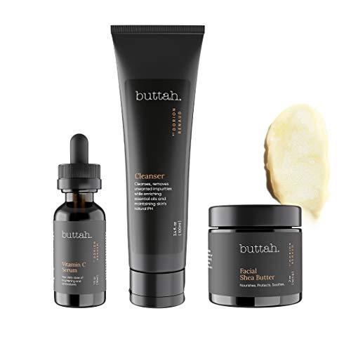 Buttah Skin by Dorion Renaud Complete Skin Kit for Melanin Rich Skin   Facial Shea Butter 2oz   Vitamin C Serum 1oz…