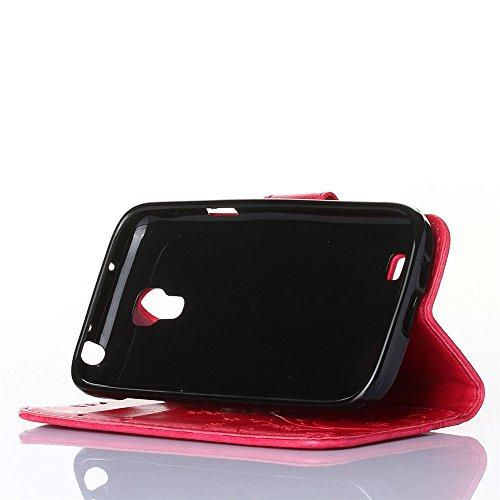COOLKE Retro Mariposas Patrón PU Leather Wallet With Card Pouch Stand de protección Funda Carcasa Cuero Tapa Case Cover para Samsung I9190 Galaxy S4 mini - Rose Rose