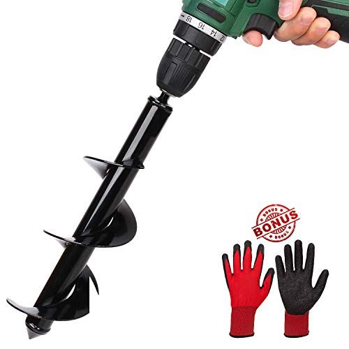 Gardening Spiral Auger Drill Bit, 1.6″×18″ Plant Flower Bulb Auger with Backyard Gloves, Planting Gap Digger Bit Speedy Planter for 3/8″ Hex Drive Drill (1.60″ x 18″ Bulb Auger + Gloves)