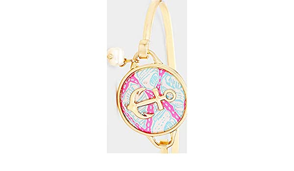 Patterned Anchor Accented Pearl Charm Hook Bracelet Size: H 1 H ID : D - 2.3