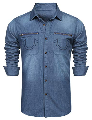 COOFANDY Men's Western Button Down Shirt Casual Long Sleeve Regular Fit Embroidered Zipper Pockets Denim Shirt Light Blue (Embroidered Long Sleeve Denim Mens)