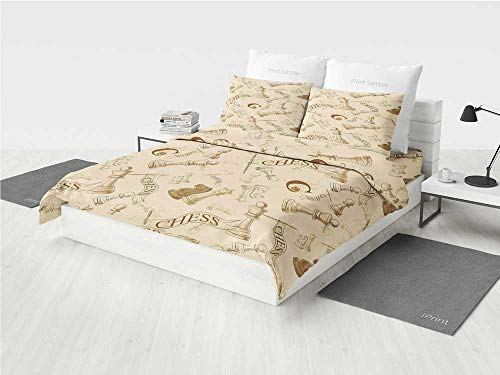 Beige Rose Bedding Set Various Sized Chess Game Pieces Playe