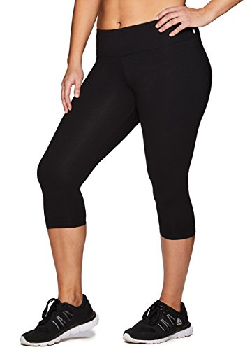 RBX Active Women's Cotton Spandex Capri Legging Black 3X