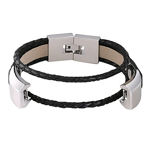 For Fitbit Alta and Alta HR Bands, bayite Leather Bands Metal Clasp Fitbit Alta Replacement Accessory Bracelet Black Brown Pink Large Small