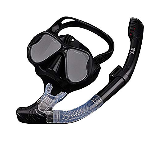 Fancystar Panoramic Dry Snorkel Mask Set, Scuba Diving Mask Anti-Fog for GoPro Mount and Earplug - Built-in Camera Mount