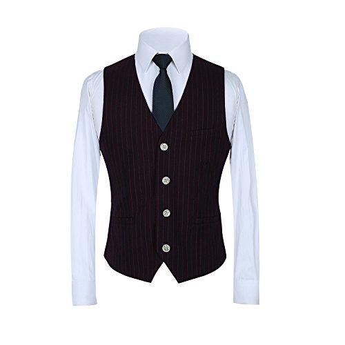 Piece Pinstripe MOGU 3 Slim Vest Dress Suits Blazer Purple Casual Suit Men's Fit Pants q6waIwBW
